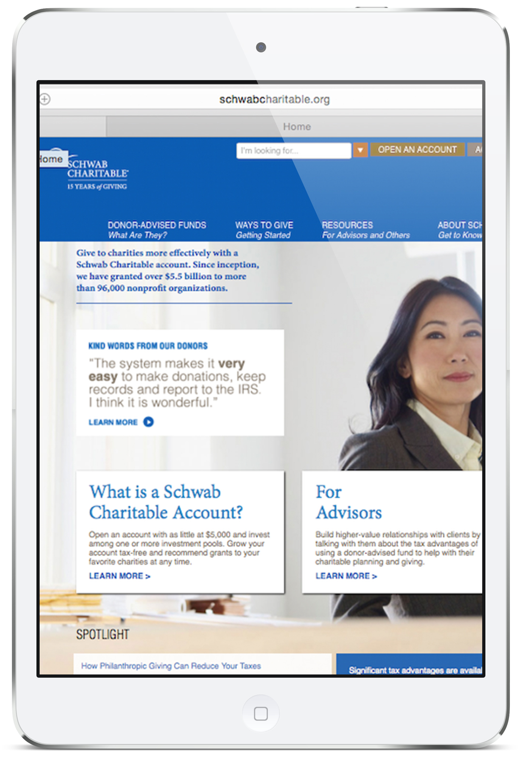 Custom JavaScript Slider for Schwab Charitable by Secret Agency